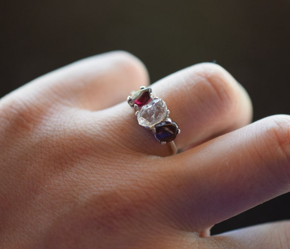 boho ring raw garnet diamond engagement ring rough diamond. Black Bedroom Furniture Sets. Home Design Ideas