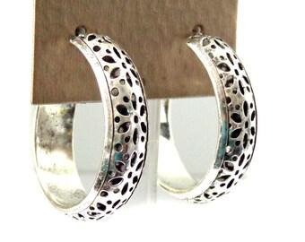 Boho Hoop Earrings Antique Silver Plated Hoop Earrings 1.5 inch Hoops