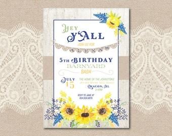 Printable Sunflower Barnyard Birthday Inivtation - Print Yourself - Digital File