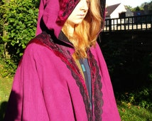 Velvet and Lace Cloak with Elven Hood. Great for Burlesque, Elven, Steampunk, Magic, Fairy, Witch, Wizard, Cosplay, LOTR or fantasy lovers!