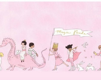 Magic! Magical Parade Double Border Pink with Metallic Fabric - Michael Miller by Sarah Jane