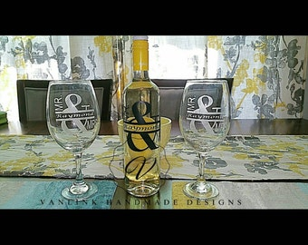 Personalized wine bottle and matching etched glasses