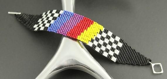 Race Car Victory Flag...Peyote Loomed.Miyuki Delica Seed Beads.Bracelet.