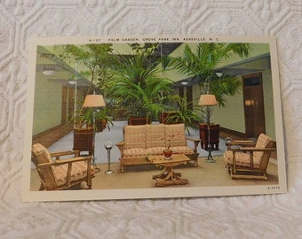 Vintage Palm Garden, Grove Park Inn, Asheville, NC Postcard