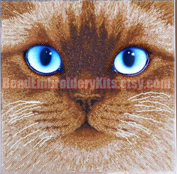 Cat bead embroidery DIY kit beaded painting stitching beading housewarm gift idea