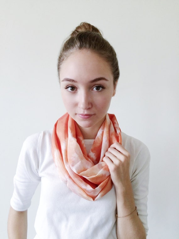 Orange Scarf-Infinity Scarf-Silk-Scarf-Scarves-Scarves for Fall-Scarves for Summer--Scarves for Spring-Holiday Gift-Gift for Mom-Gift for My