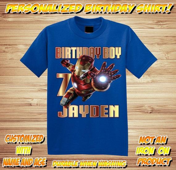 Personalized Iron Man 2 Birthday T Shirt - Avengers, Captain America, Hulk