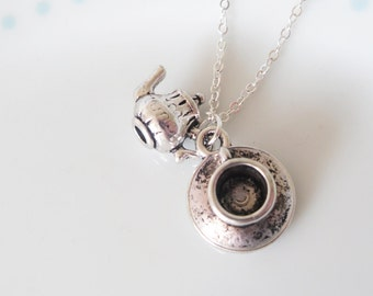 Alice in Wonderland Silver Teacup & TeaPot Necklace, Tea cup, Cute, Tea Party, Tea Pot, Tea