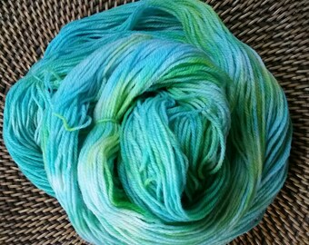 Hand dyed Superwash Merino - Nylon Blend sock weight yarn 100 gm, 400+ yards colorway  Seafoam