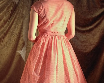 Divine vermillion (pink & white) sheer / see through striped fifties frock