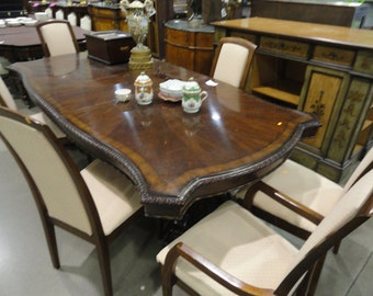 Large Inlay Solid Wood Dining Table With Extension