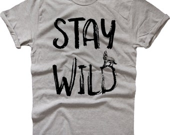 Stay wild wolf t-shirt t shirt tee top wild city life gift present urban jungle clothing top