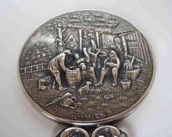 Hans Jensen Denmark Repousse Silver Plated Mirror