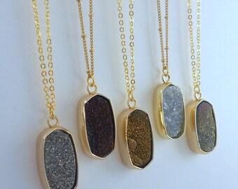 Druzy Necklace, Druzy Pendant, Druzy Necklace,  Bar Necklace, Bridesmaid Gift, Gold Druzy Necklace, Natural Druzy,  Drusy Necklace