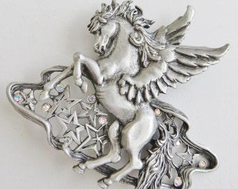 Rare Hard To Find JJ Jonette Ornate Rearing Pegasus Brooch With Stars And Rhinestones Brooch Pin