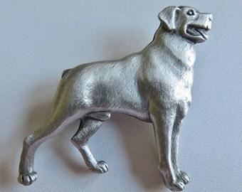JJ Jonette Genuine Pewter Rottweiler Brooch pin