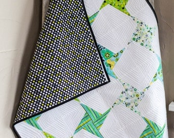 Lime Green and Black Baby Quilt, Pinwheel Baby Quilt, Origami Art Quilt, Modern Baby Blanket, Baby Shower Gift, Nursery Decor Infant Bedding