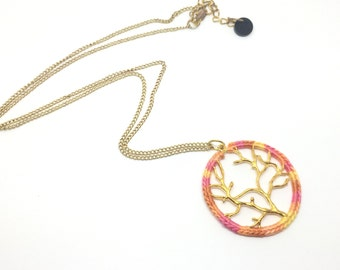 Pink and Orange Tree of life Pendant Necklace // Gold Tree Pendant Necklace