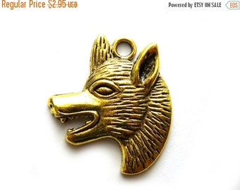 SALE 6 Gold Plated Wolf Charms