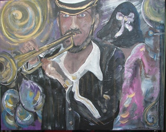 Copyright, Denise McElroy. Louisiana Abstract Art, Jazz in New Orleans