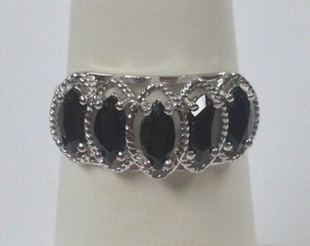 Natural Black Onyx Ring 925 Sterling Silver