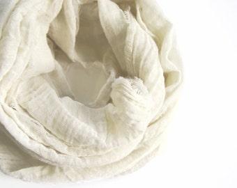 Almond Cotton Scarf, Pastel Beige Scarf, Cream Cotton Scarf, Ecru Almond Scarf, Ivory Scarf Minimalist Beige Cotton Scarf Ivory Cotton Scarf