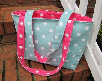 Pink and Blue Polka-Dot Reversible Tote