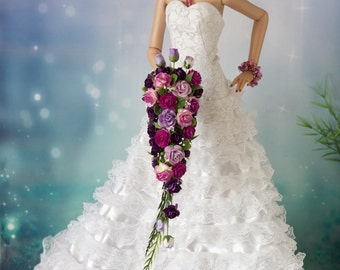 Tonner  Ellowyne Cami BJD white Cascading Bouquet, Flowers, NEW Purple