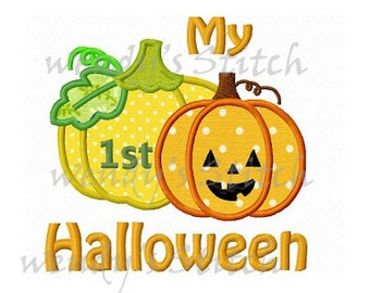 My 1st Halloween applique machine embroidery design instant download