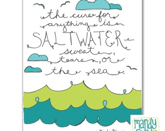Saltwater Sea Ocean Water Quote Handlettered Illustration Art Print