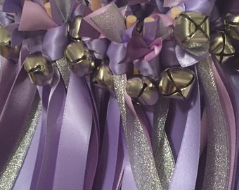 50 Wedding Wands/Wedding Ribbon Wands/Wedding Wand/Wedding Streamers/Iris, Hyancith and Silver Metallic
