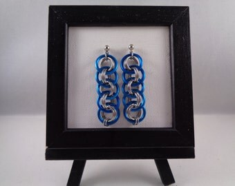 Turquoise Viper Basket Chainmail Earrings; Chain Mail Earrings; Chainmaille Earrings; Chain Maille Earrings; Chainmail Earrings