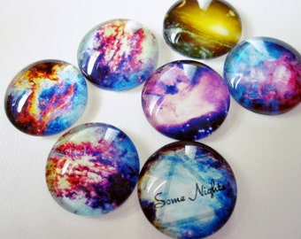 7 - 16mm Mixed Galaxy Glass Cabochons