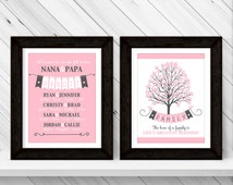 family keepsake print | custom family tree sign grandkids names | family tree gift for grandparents | mothers day gift for nana for grandma