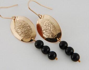 Hammered Earrings Gold Artisan Earrings Black Onyx Earrings Gold Drop Earrings Textured Gold Earrings Artisan Jewelry