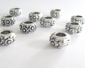 Round Antique Silver in Color  European Style Large Hole Bead with Flower Look, 2 in a Pack, CLJewelrySupply