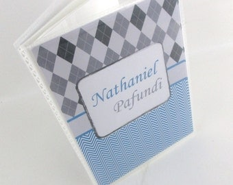 Boy photo album- Blue and gray Argyle - Personalized with baby boy name- 4x6 or 5x7picture book 493