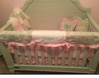 Baby Girl Crib Rail Guard Set Pink Lace Embossed Minky
