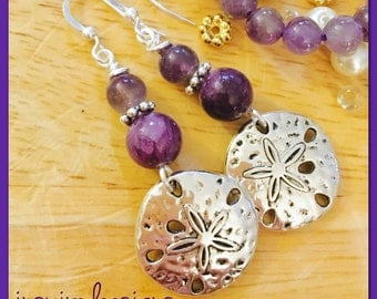 Amethyst Sand Dollars Silver Earrings