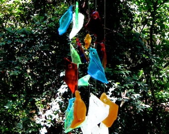 Glass wind chime - hanging mobile- hanging tumbled glass windchime