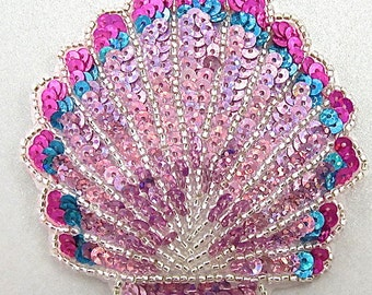 """Seashell Applique with Laser Spotlight Pink and Turquoise Sequins, Silver Beads, 3.25"""" x 3"""" -17536"""