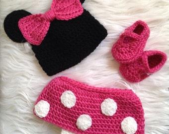 Newborn Crochet Minnie Mouse, Crochet Baby Minnie Mouse, Baby Girl Photo Prop, Baby Minnie Mouse Photo Prop, Disney Photo Prop
