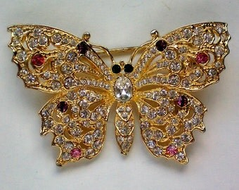 Rhinestone Jeweled Butterfly Pin - 14.00