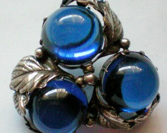 Joseff of Hollywood Blue Cabochon Grape Cluster Pendant or Brooch - 4300