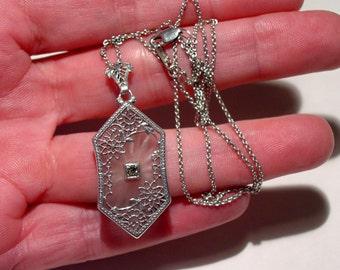 On Sale - Antique Vintage Art Deco Sterling Silver Floral Filigree CAMPHOR GLASS Pendant Necklace