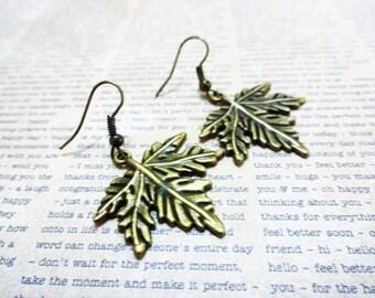 BRONZE MAPLE LEAF earrings - leaf dangle earrings