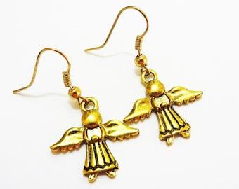 ANGEL EARRINGS in antique gold tone - Christmas earrings - holiday earrings -