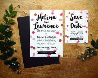 Colour Pop Confetti wedding invitation + matching stationery