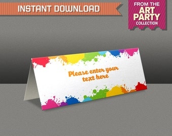 Art Party Tent Cards - Art Party Place Cards - Art Party Food Labels - Edit and print at home with Adobe Reader - Instant Download
