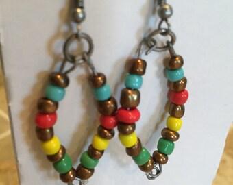 Boho womens earrings, womens earrings, hippie jewelry, beaded earrings, dangle earrings
